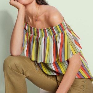 CAbi Carnival off shoulder top yellow red stripes small
